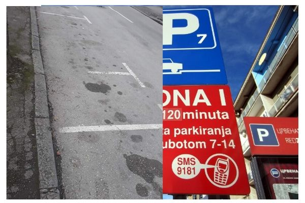 Pogrešno iscrtano parking mesto i znak za parking