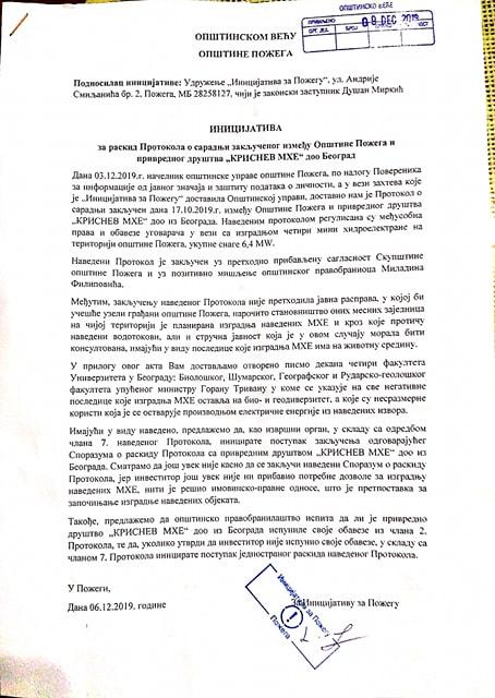 Tekst Inicijative za raskid Protokola o izgradnji MHE na t.o. Požege
