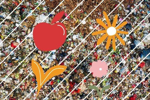 Puno otpada na slici i slobodnom rukom nacrtano voće, cveće i biljke...